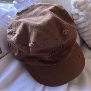 Peter Grimm Distressed Brown Cadet-Style Hat